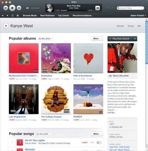 rdio for mac artist 520x530 Streaming music service Rdio launches app for Mac OSX