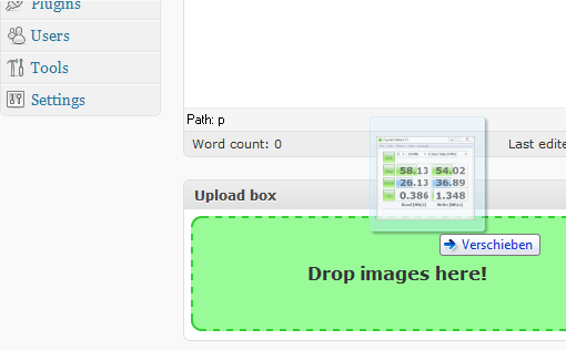 screenshot 1 Easily upload files to your WordPress blog with Gmail like Drag & Drop File Uploader