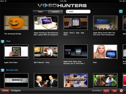 videohunter VideoHunters: Customized YouTube themes for iPad