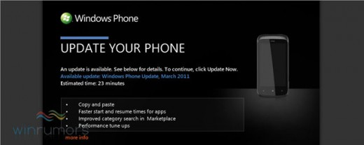 wp7nodoupdatenotification 520x207 The first update to Windows Phone 7 is now live