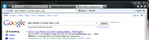2011 04 19 1703 520x141 Google Toolbar 7 turns IE9 into mini Chrome