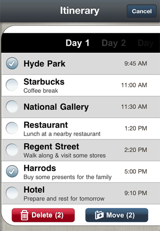 4 Edit Itinerary: A beautiful trip planner for the iPhone