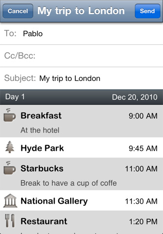5 Mail your Itinerary Itinerary: A beautiful trip planner for the iPhone