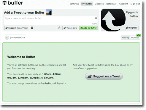 Buffer interface 4 easy tools to keep up your 24 hour Twitter feed