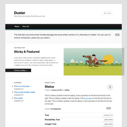 Duster Automattics Duster may be next default WordPress theme