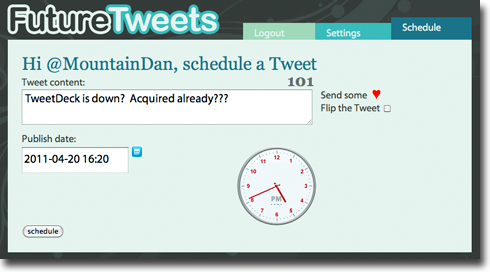 FutureTweets Interface 4 easy tools to keep up your 24 hour Twitter feed