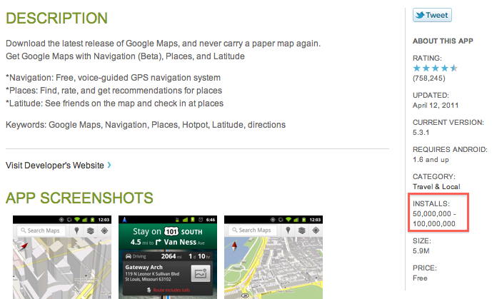 Screen shot 2011 04 14 at 13.44.45 Google Maps Passes 50 Million Installations Via Android Market