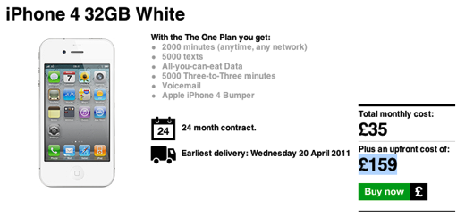 Screen shot 2011 04 18 at 9.34.19 AM White iPhone 4 Now available for order on 3 UK, delivers on April 20th [Updated]