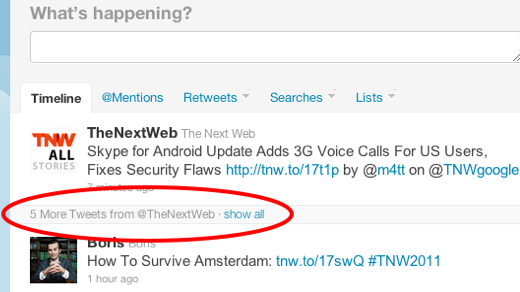 Screen shot 2011 04 20 at 13.26.25 Twitter deals with noisy users by hiding tweets