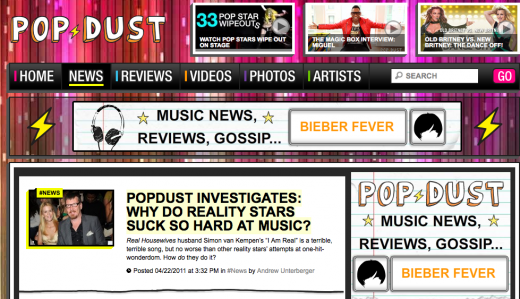 Screen shot 2011 04 25 at 12.23.59 PM 520x299 Popdust tells us how to make a killer online music magazine.