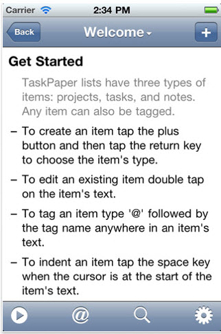 TaskPaper 15 iOS To Do Apps that Sync Over the Air