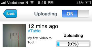Uploading Video Share Short, Memorable Video Moments with Tout