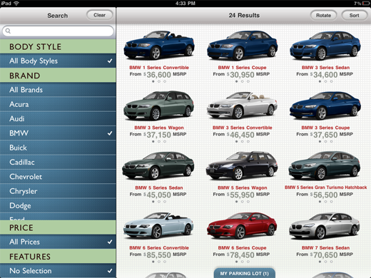 carzen CarZen: A gorgeous iPad app to shop for new wheels