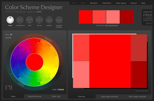 colorschemedesigner 7 Tools for Managing Your Color Palettes