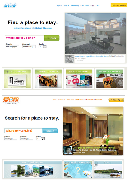 comparison Airizu: An AirBnb clone for Chinese travellers