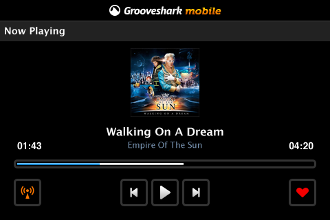 d1a00 grooveshark blackberry Sneaking past the market, Grooveshark is now back on Android
