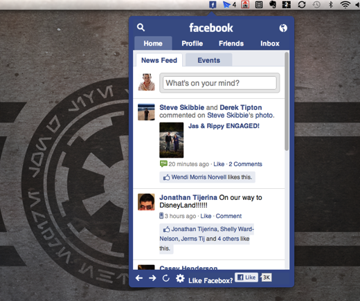 facebox Get some Facebook up in your Mac menu bar with Facebox