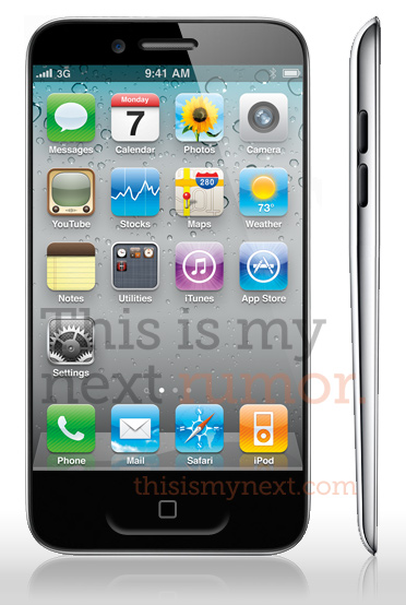 iPhone5 mockup iPhone 5 to Have 3.7 inch Screen, Bigger Home Button and iPod Style Body?