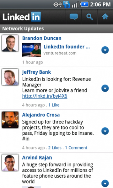 linkedin2 360x600 LinkedIn Android app sheds Beta tag, officially Launches on Android Market