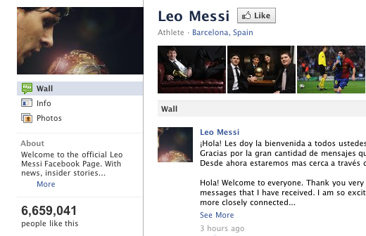 messi facebook Insane: Argentine Footballer Lionel Messi Grabs 6.5 Million Facebook Fans in 3 HOURS