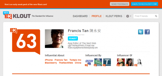 new klout1 520x246 A sneak peek at the new Klout redesign