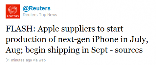 reuters iphone 520x218 iPhone 5 shipping this September?