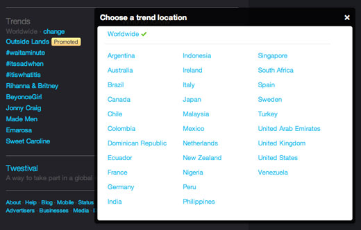 twittertrends Twitter adds 70 new locations to Trends