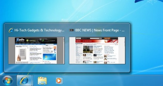 windows 7 taskbar aero peek preview hover 520x274 The immersive elements of browsing in Windows 8 are downright ugly