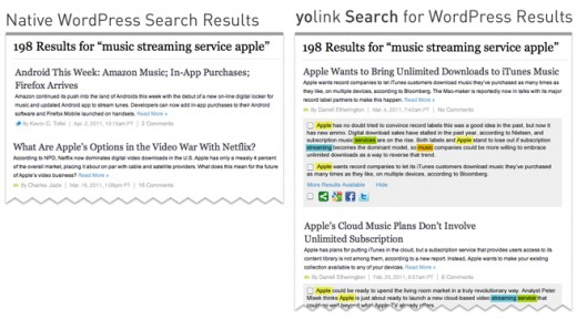 yolinkWP search sidebyside 520x298 Finally, a real WordPress search option! Announcing yolink Search for WordPress