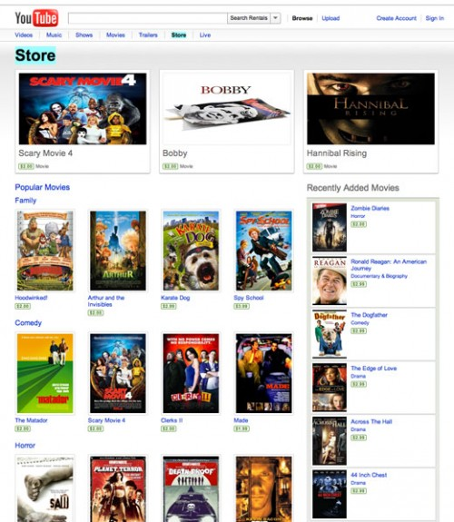 youtubestore 500x575 Check out (and rent from) YouTubes new premium store now. Heres how. [Screenshots]
