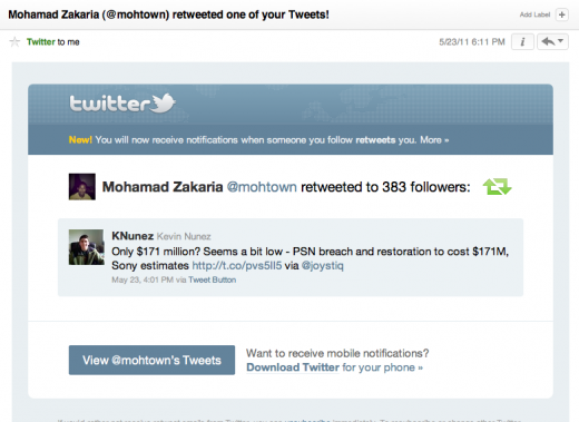 1306188755 520x379 Twitter Now Sending Emails for Retweets and Favorites [Screenshots]
