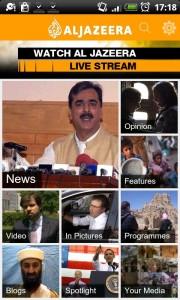 Al Jazeera English Home Screen