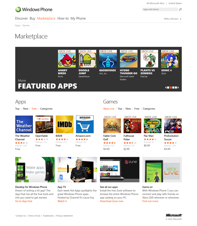 Web version of WP7 app Marketplace unveiled
