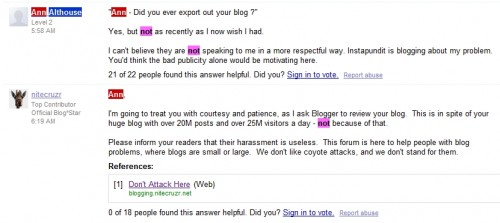 Althouse Coyote Attacks 500x223 Google comes under fire for removing blogs, resetting Gmail accounts.