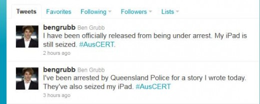 Ben Grubb bengrubb on Twitter 1305630466006 520x209 Journalist quizzed and iPad seized by police after reporting Facebook privacy bug