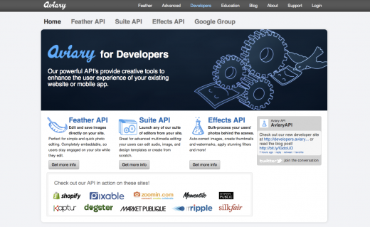 Dev Homepage1 520x319 Aviarys new photo API takes flight, leveling the playing field for photo app developers