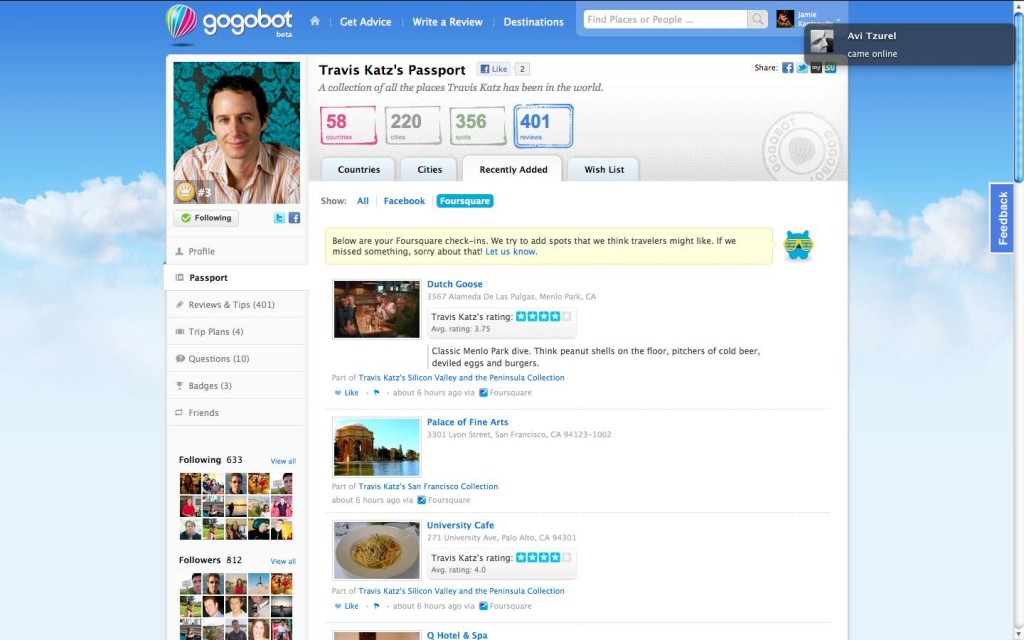 Gogobot Foursquare Check ins Tab 1 1024x640 Gogobot adds checkins via Facebook places and Foursquare