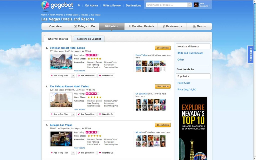 Gogobot Las Vegas Hotels List 1024x640 Gogobot adds checkins via Facebook places and Foursquare
