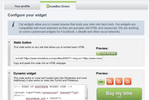 MinuteBox Direct Widget 520x350 MinuteBox goes social to help users buy and sell expertise