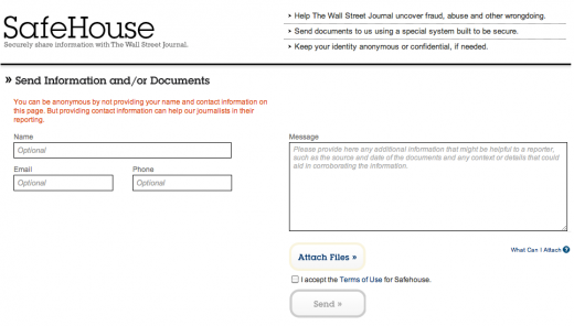 Screen shot 2011 05 05 at 9.47.18 AM 520x296 The Wall Street Journal unveils SafeHouse, its Wikileaks competitor