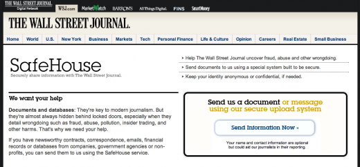 Screen shot 2011 05 05 at 9.51.28 AM 520x242 The Wall Street Journal unveils SafeHouse, its Wikileaks competitor