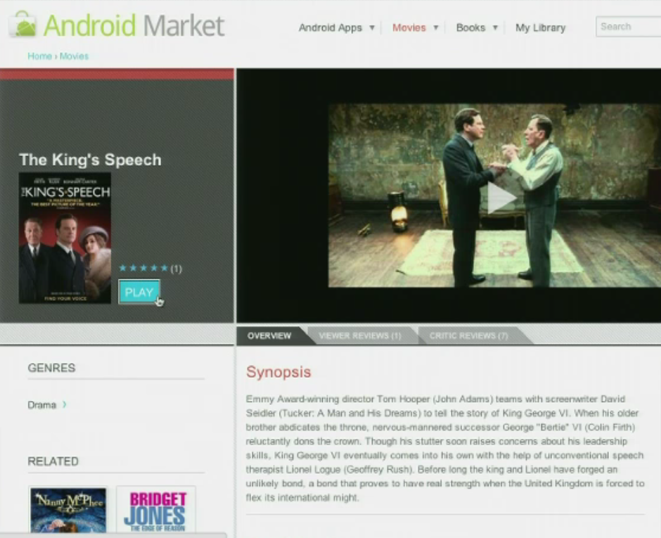 Google I/O: You can now rent movies from the Android market