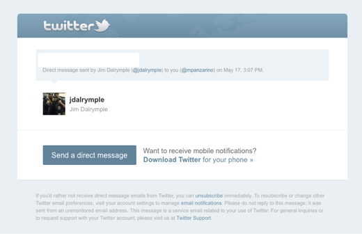 Screen shot 2011 05 17 at 3.23.59 PM Twitter gives its New Follower and Direct Message emails a makeover