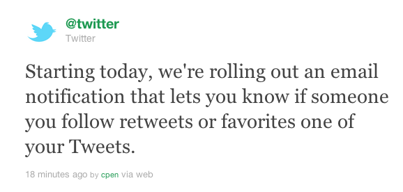 Twitter Now Sending Emails for Retweets and Favorites [Screenshots]