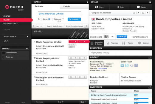 Screen shot 2011 05 30 at 09.37.59 520x350 Duedil makes UK businesses transparent, shows you who you can trust