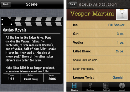 Screen shot 2011 05 30 at 7.04.37 PM 520x367 Get drunk like a super spy with The Bond Mixology app