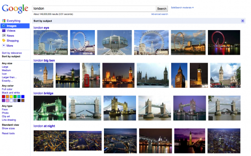 Sort by Subject 500x311 Google adds subject sorting to its image search