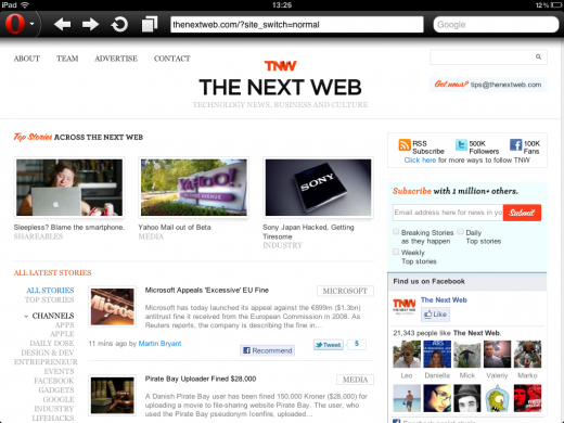 TNW Opera 520x390 Opera web browser now available on iPad for the first time