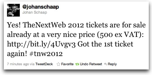 johanschaap First ticket sold for The Next Web Conference 2012