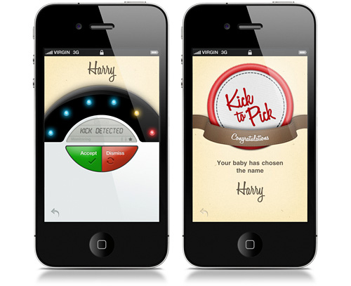 kick to pick iPhone App lets your unborn baby pick its own name by kicking!